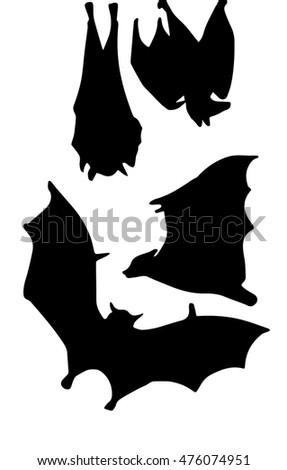vector illustration bats silhouette hand drawing set halloween bats