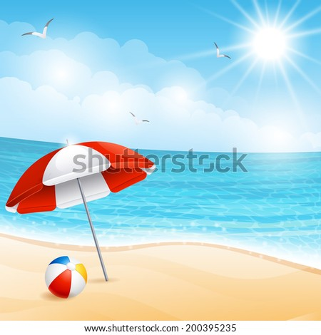 Vector illustration - beach summer scene - stock vector