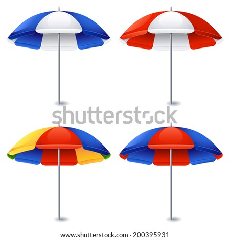 Vector illustration - Beach umbrella on white - stock vector