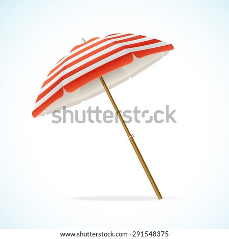 Vector illustration Beach Umbrella Red and White. The symbol of a holiday by the sea - stock vector