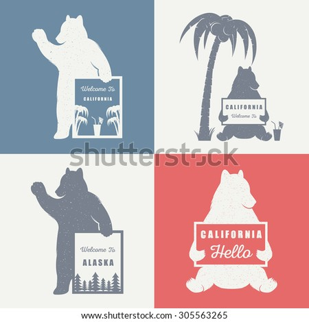 Vector Illustration Bear with sign Welcome to California and Alaska on a white background. Bear Symbol for T-shirts print, labels, badges, stickers and logos - stock vector