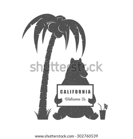Vector Illustration Bear with sign Welcome to California on a white background. Bear Symbol Can be used for T-shirts print, labels, badges, stickers and logotypes - stock vector