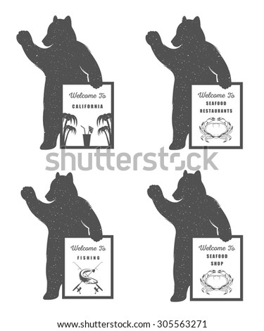 Vector Illustration Bear with Sign Welcome to Seafood Shop, Restaurant and Fishing on a white background. Bear Symbol for T-shirts print, labels, badges, stickers and logos - stock vector