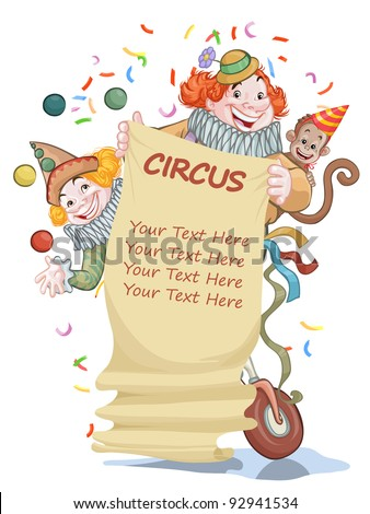 Vector illustration, beautiful circus invitation, card concept, white background. - stock vector