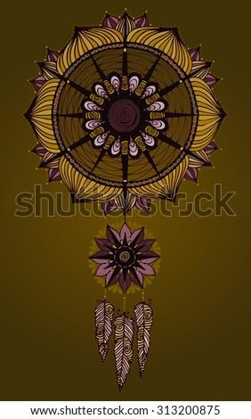 Vector illustration, beautiful dream catcher, earth tone colors, card concept. - stock vector