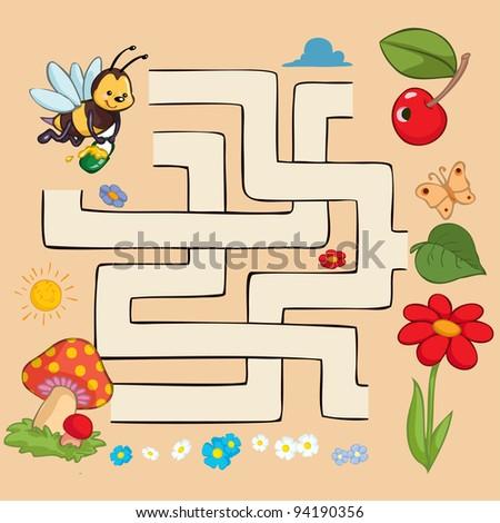 Vector illustration, beautiful educative maze, card concept. - stock vector