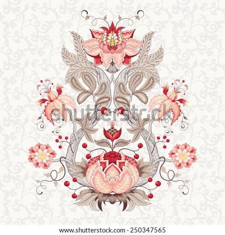 Vector illustration. Beautiful fantastic flower with leaves, tendrils and berries. Delicate seamless background. Motives of the paintings of vintage Indian fabrics. Tree of Life collection. - stock vector
