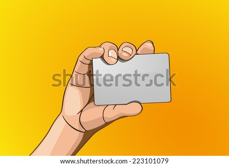 Vector illustration - Beautiful hand holding card in outline version. Created with adobe illustrator, background,  - stock vector