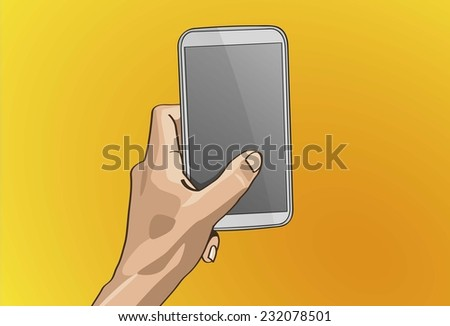Vector illustration - Beautiful Left hands Handle on a smart phone in outline version. Created with adobe illustrator. smart phone, background, are Created separately. - stock vector