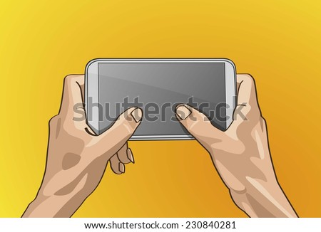 Vector illustration - Beautiful Left&Right hands Handle on a smart phone in outline version.  - stock vector
