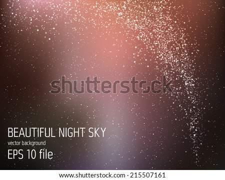Vector illustration - beautiful night sky with stars and Milky Way - stock vector