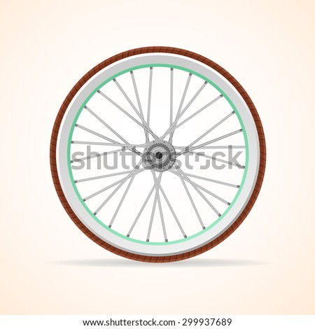 Vector illustration Bicycle vintage wheel isolated on white background.