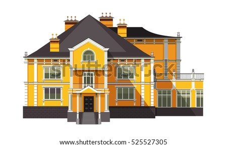 vector illustration big old two storey house on a white background