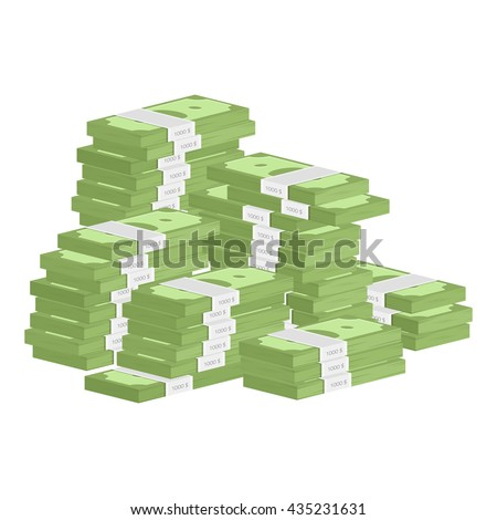 Vector illustration big pile of cash. Concept of big money. Vector isometric illustration in flat style. American dollars, pack, parcel, batch, package modern design isolated on white background. - stock vector