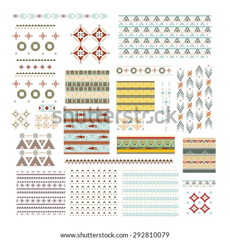 vector illustration big set pieces ethnic ornaments and elements to create brushes, background design elements and graphics