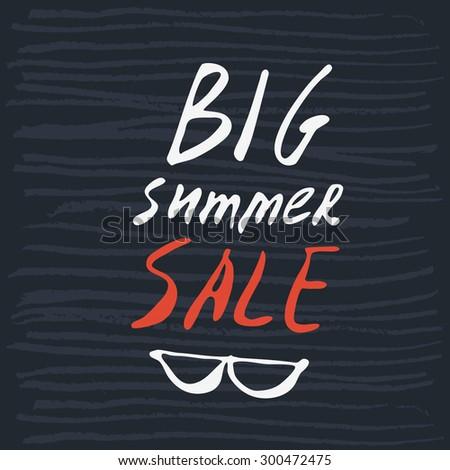 Vector illustration big summer sale grunge label. - stock vector