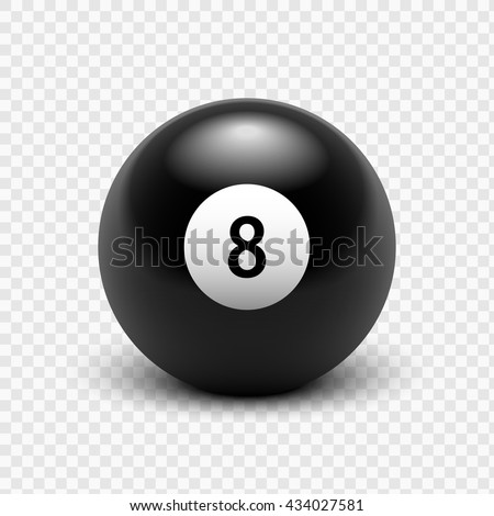 Vector illustration billiards. Eight Ball. Isolated on a transparent background. EPS 10 - stock vector