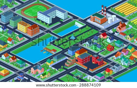 Vector illustration. Bird's-eye view of colorful isometric city with lots of buildings. - stock vector