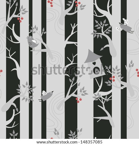 Vector illustration. Birds in the forest. Seamless pattern.