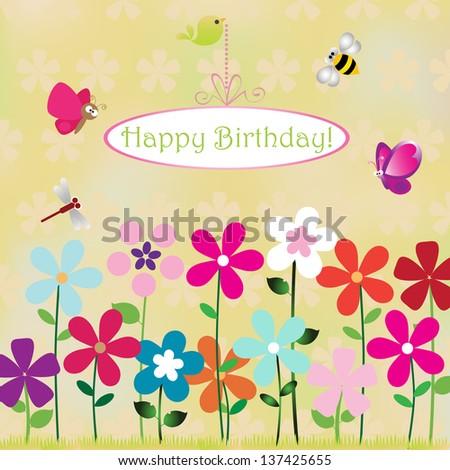 Vector Illustration Birthday Card Animal Bug Stock Vector 137425655