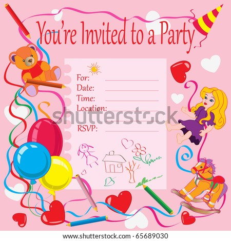 Vector illustration birthday party invitation kids stock vector vector illustration birthday party invitation for kids card concept bookmarktalkfo Images