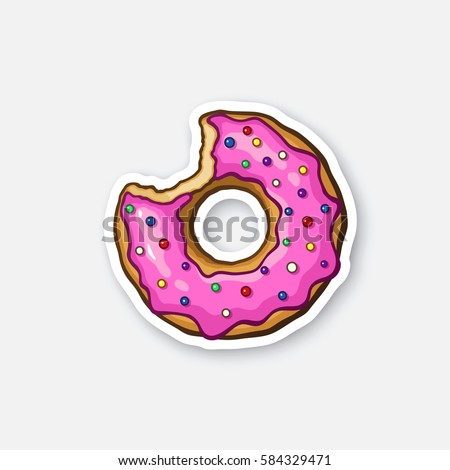 Vector illustration. Bitten donut with pink glaze and colored powder. Sticker in cartoon style with contour