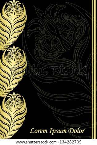 Vector illustration. Black and gold vintage. - stock vector