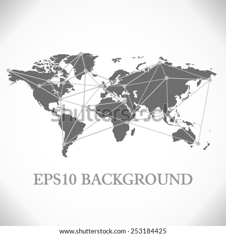 Vector illustration black and white map - stock vector