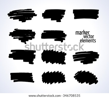 vector illustration. black and white marker stains isolated on a white background. Collection for your design - stock vector