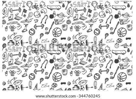 Vector illustration Black and white Sport and fitness seamless doodle pattern - stock vector