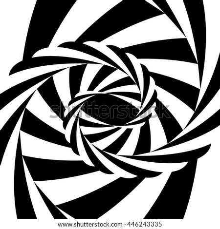 Vector Illustration.Black and White Striped Vortex Converging to the Center. Optical Illusion of Depth and Volume. Suitable for Web Design. - stock vector