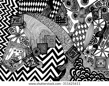 Vector illustration, black and white surreal world, card concept. - stock vector