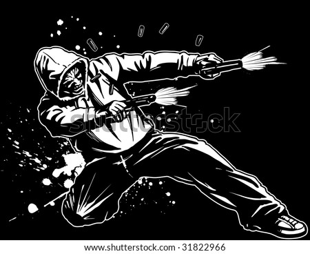 Vector illustration (black background version) of an urban tough guy wearing a hoodie while down on one knee, firing two pistols. Casings fly and blood splatters as he takes a shot to the hip. - stock vector