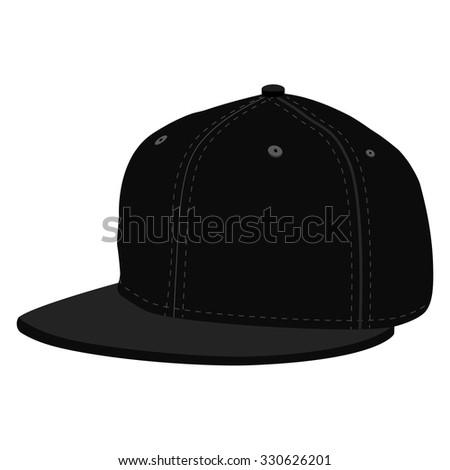 Vector illustration black hip hop or rapper baseball cap. Baseball cap icon - stock vector