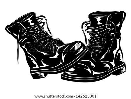 Vector illustration black leather army boots - stock vector