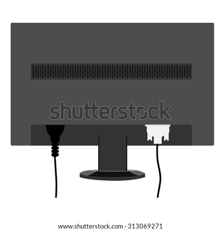Vector illustration black monitor LCD display back view. Monitor with connected cords. - stock vector