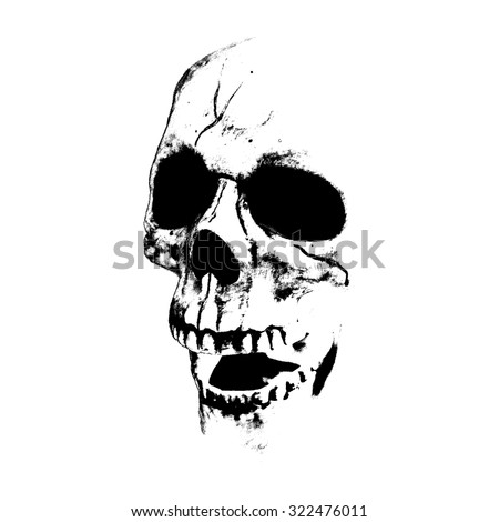 Vector illustration. Black silhouette of a skull with an open mouth. Isolated image on a white background. Can be used to t-shirts design, halloween design etc.