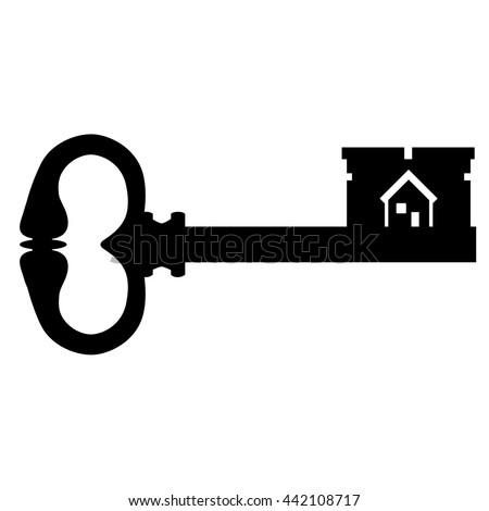 black house key. Vector Illustration Black Silhouette Of Old Key. Vintage Antique Key With House Symbol