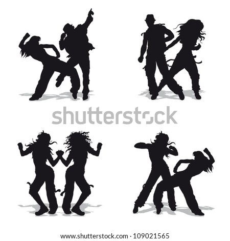 Vector illustration black silhouetts dancing couples on white background - stock vector