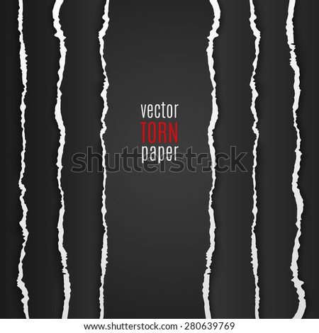 Vector illustration black torn paper. Template background - stock vector