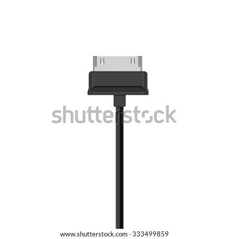 Vector illustration black usb cord, cable, connector symbol - stock vector