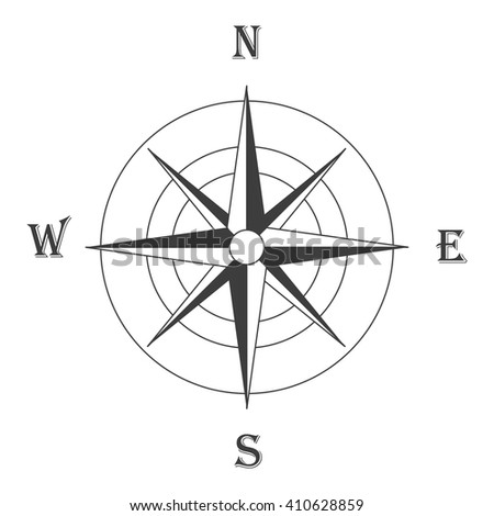 Vector illustration black wind rose isolated on white. Compass rose icon - stock vector