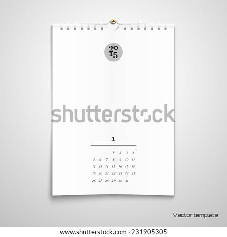 Vector illustration. Blank paper spiral calendar. Realistic shadows.  - stock vector