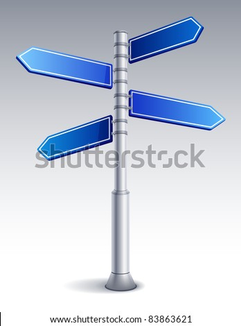 Vector illustration - blank road sign - stock vector