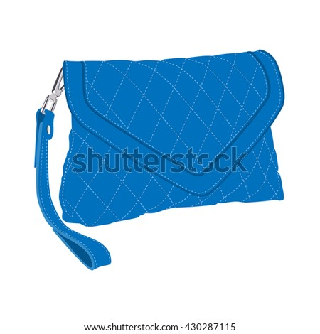 Vector illustration blue fashion clutch bag. Clutch purse. Evening bag - stock vector