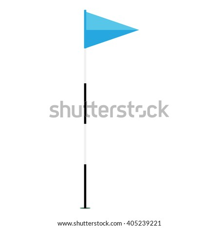 Vector illustration blue golf flag isolated on white background. Game golf equipment. Golf flag icon flat design - stock vector
