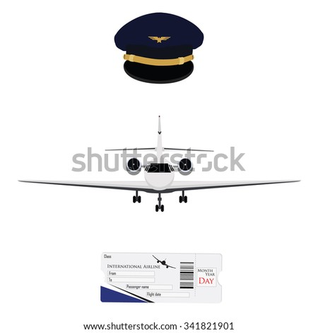 Vector illustration blue pilot cap with badge, uniform. Civil aviation and air transport. Airplane ticket plane ticket, boarding pass, check in. Private business jet - stock vector