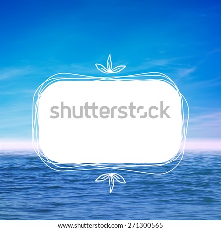 Vector illustration. Blurred photo of water and sky. With frame for photo or text - stock vector