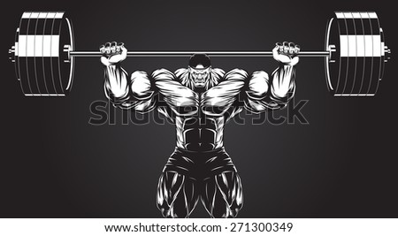 Vector illustration, bodybuilder performs an exercise with a barbell - stock vector