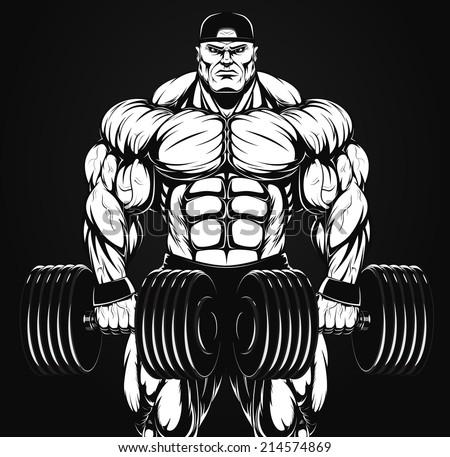 Vector illustration, bodybuilder with dumbbell - stock vector